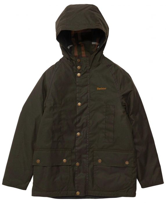 Barbour Boys Hooded Beaufort Wax Jacket