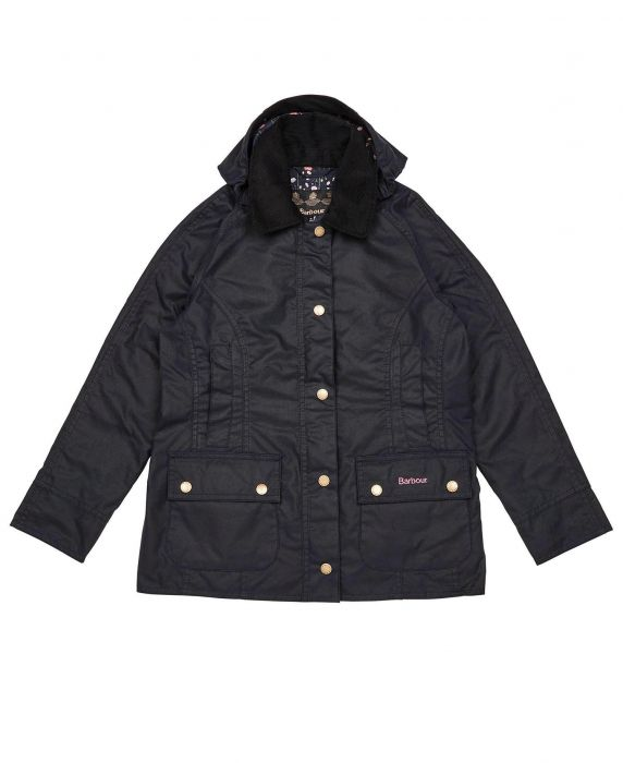 Barbour Girls Hooded Beadnell Waxed Cotton Jacket