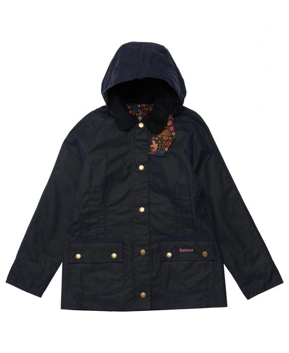 Barbour Girls Hooded Beadnell Wax Jacket