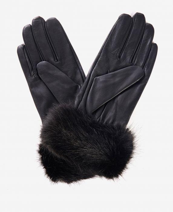 Barbour Fur Trimmed Leather Gloves