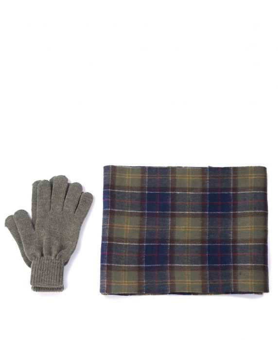 Barbour Tartan Scarf And Glove Gift Set