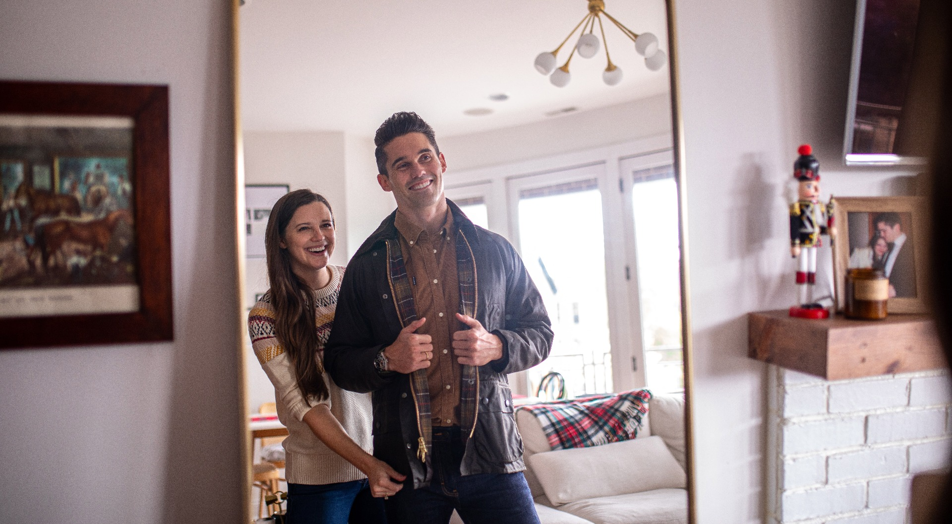 Jess Keys and her husband Neal with his gifted Barbour Bedale waxed jacket.
