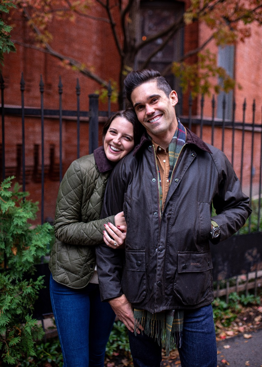 Jess Keys and husband Neal out enjoying their Barbour Jackets.