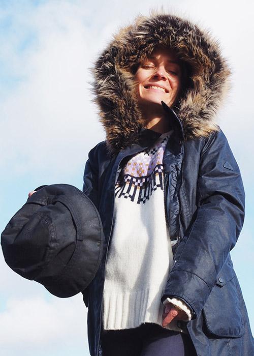Julia Rebaudo wearer the Barbour AW20 Coastal collection