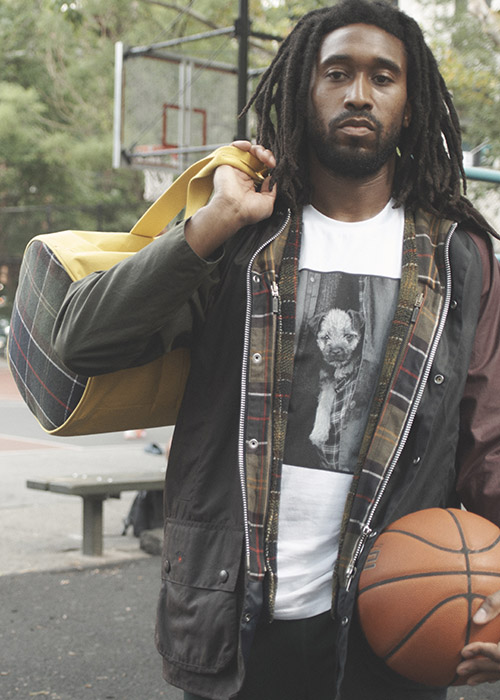 basketball player styles the Barbour X Noah collection