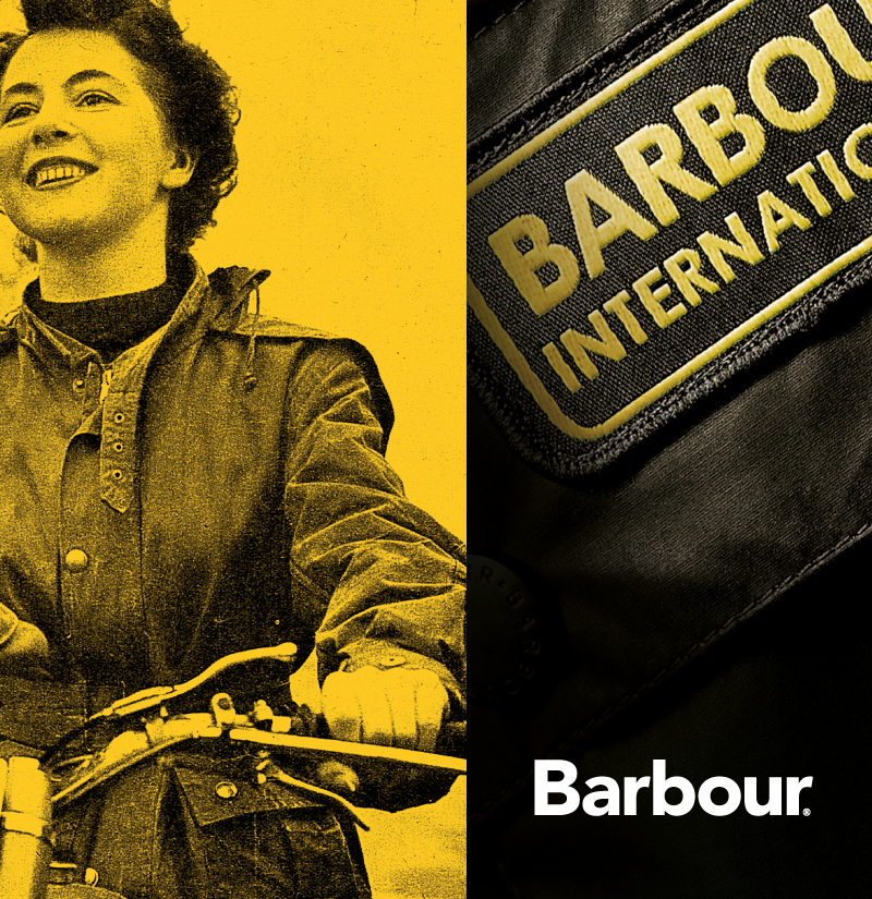 The Barbour International badge on the famous motorcycling jacket