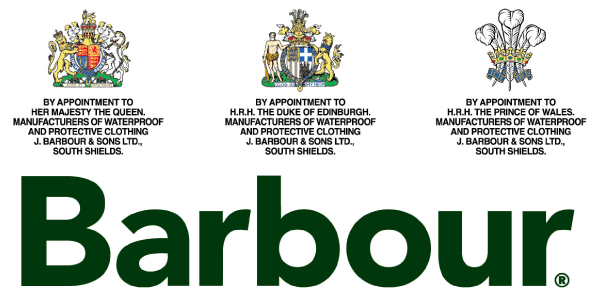 Barbour Logo with three Royal Warrants