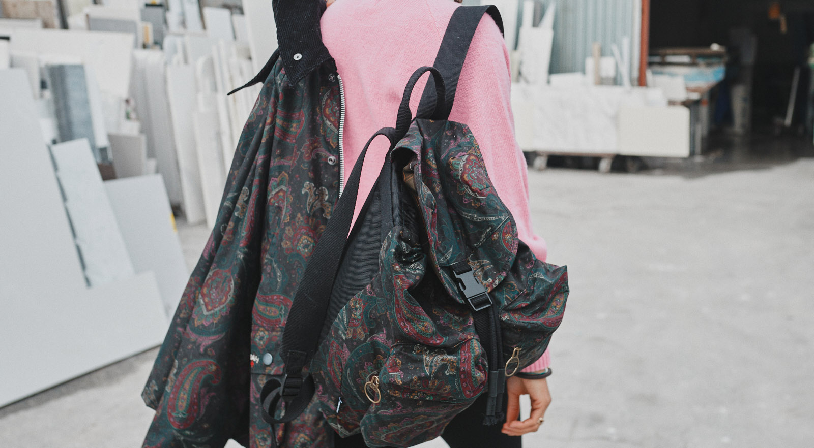 a woman styles the Barbour X Noah collection