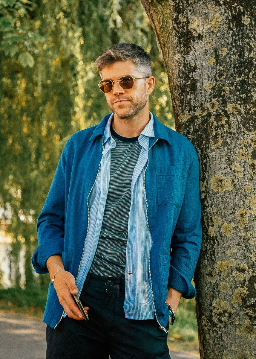 Darren Kennedy wears the Barbour Preview AW21 collection