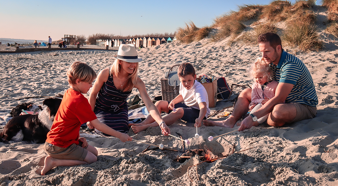 Sarah-Jane and family wear the Summer Shop collection while on their great British staycation for a bbq on the beach