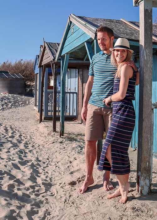 Sarah-Jane and Matthew wear the Summer Shop collection while on their great British staycation at the beach