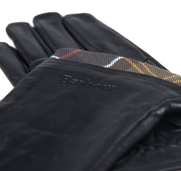 Barbour Tartan Trimmed Leather Gloves