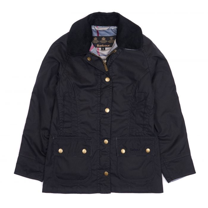 Barbour Girls' Bower Waxed Cotton Jacket