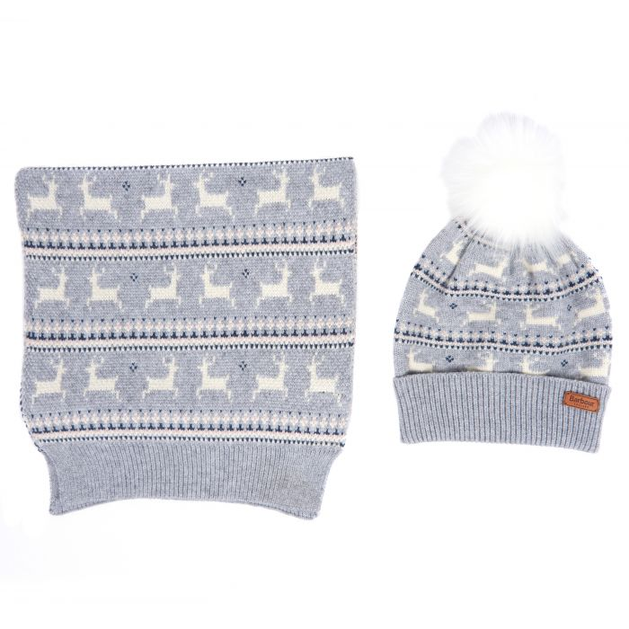 Barbour Deer Fairisle Hat & Scarf Gift Box Set