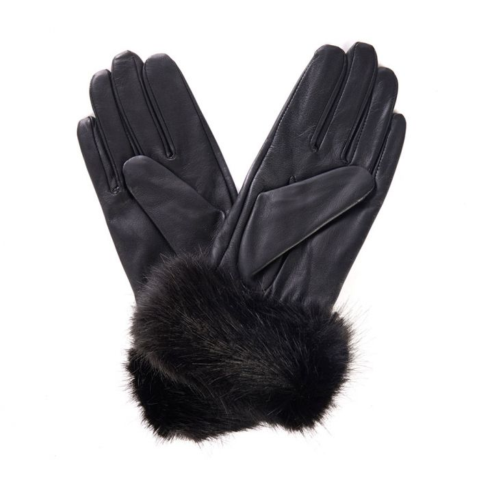 Barbour Fur Trimmed Leather Gloves