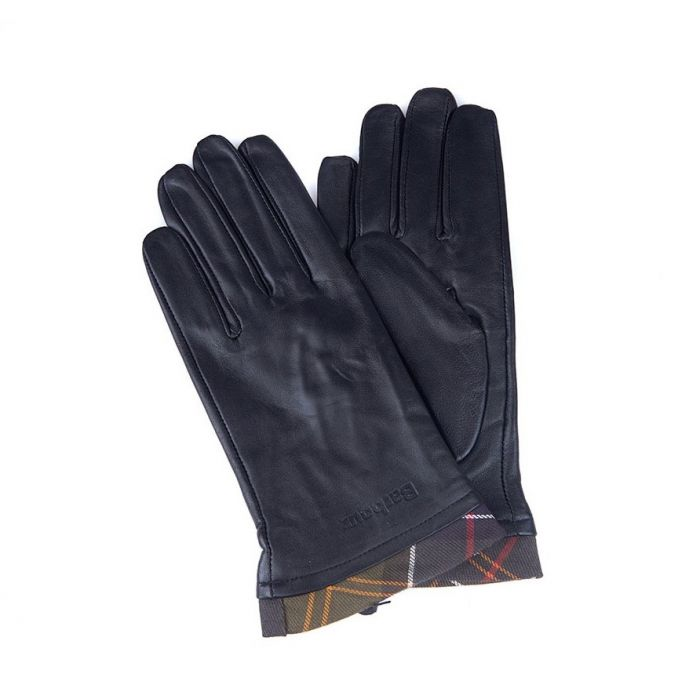 Barbour Tartan Trimmed Leather Gloves