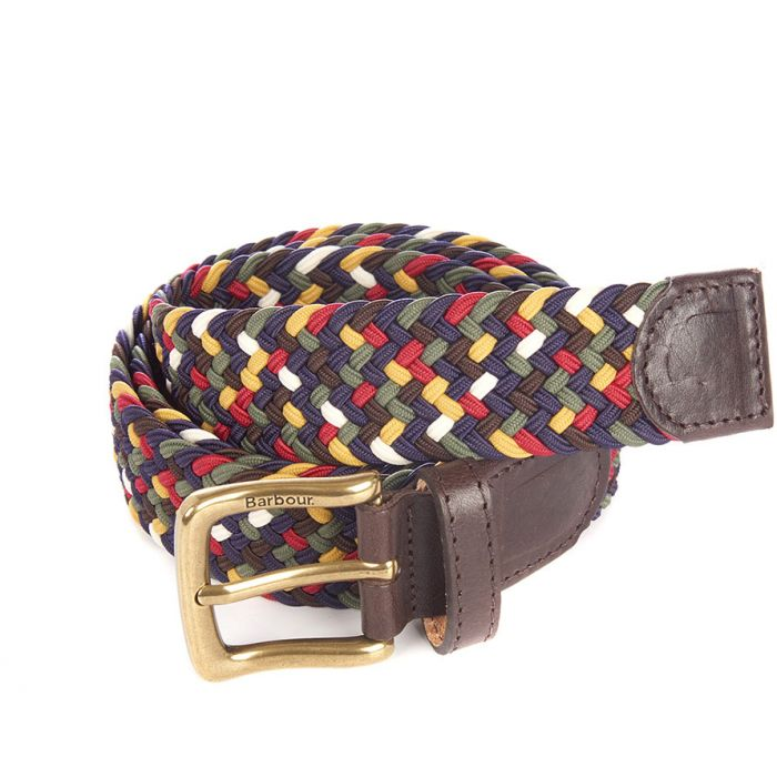 Barbour Tartan Coloured Stretch Belt In Gift Box