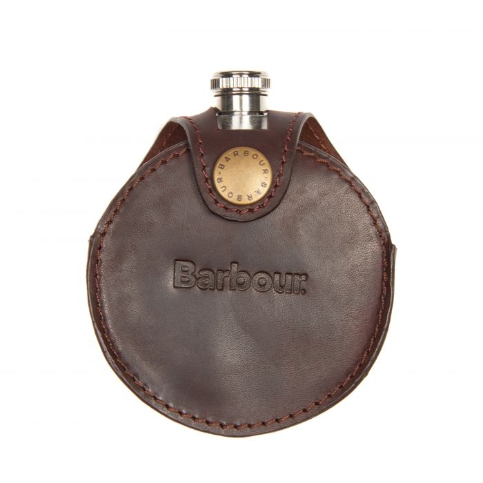 Barbour Round Hip Flask In Gift Box