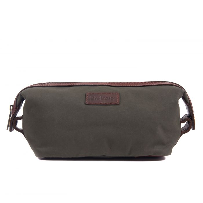 Barbour Drywax And Leather Convertible Wash Bag