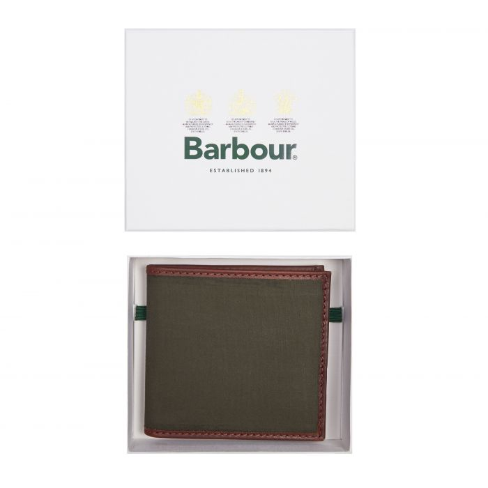Barbour Drywax Billfold Wallet In Gift Box
