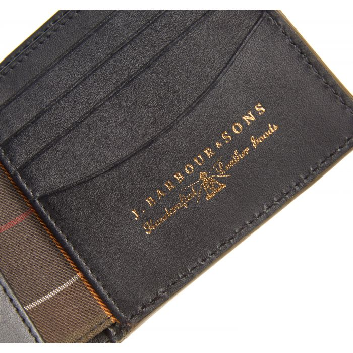 Barbour Grain Leather Billfold Wallet In Gift Box
