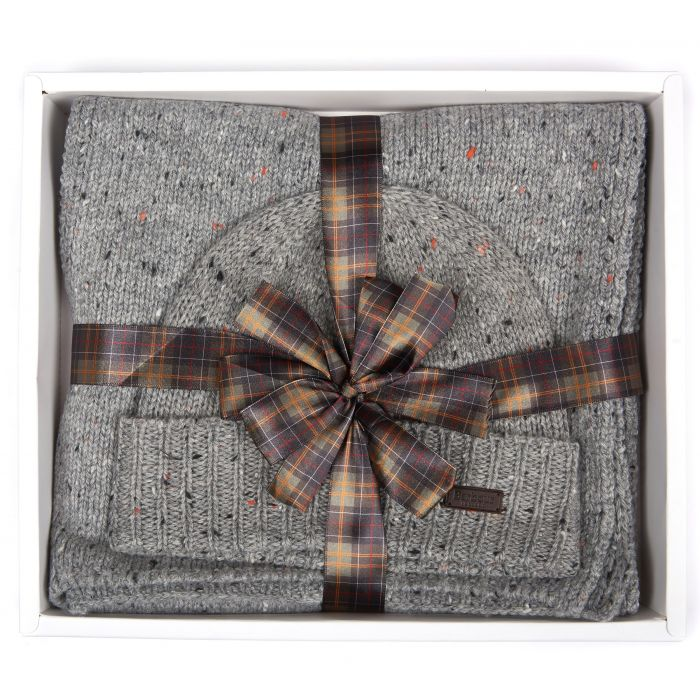 Barbour Donegal Knitted Beanie & Scarf Gift Box Set