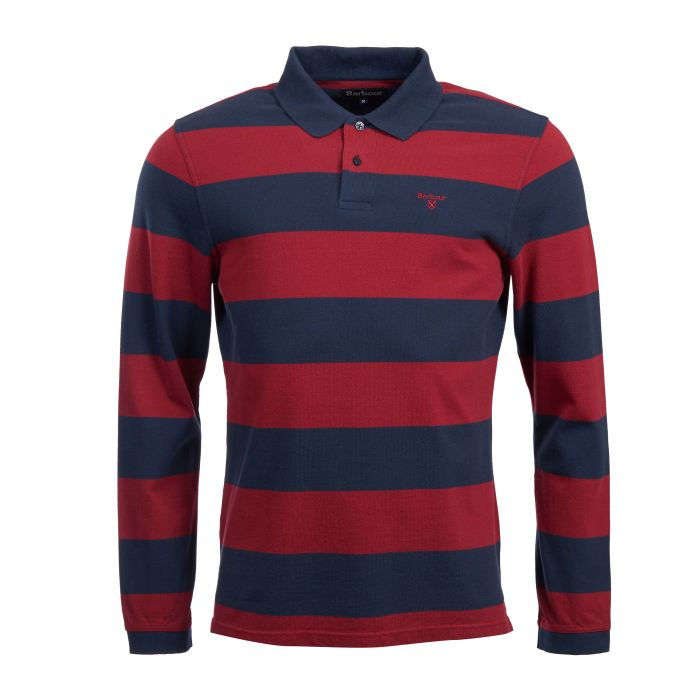 Barbour Scrum Striped Long Sleeve Polo Shirt